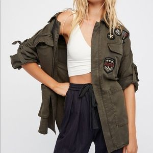 Free People Embellished Military Shirt